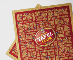 Tafel Lager revamp Tafel Lager is the biggest selling beer and probably also one of the most loved brands in Namibia. That is why revamping and relaunching its packaging had to be approached in a very careful and sensitive manner. The brief was part of a new ATL Image campaign which promoted 'National Pride' without being political, racial or cheesy. The packaging had to reflect the young, cool Namibian, Tafel Lager was repositioned as. (TV LAUNCH AD HERE: http://www.youtube.com/watch?v=-UiNBvYoHxw) In the end, the entire process, including hundreds of burgundy colour proofs, 36 shrink wrap designs and an astounding amount of opinions took 8 months. For press releases please visit: http://www.az.com.na/wirtschaft/tafel-lager-glnzt-mit-neuem-aussehen.132336.php http://www.republikein.com.na/die-mark/nuwe-voorkoms-vir-tafel.132226.php