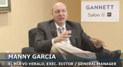 Manny Garcia, executive editor/general manager at El Nuevo Herald who has won three Pulitzer Prizes and been a finalist for two others, is interviewed by Gannett's Mackenzie Warren at the IRE Conference in Boston on Friday.  Click the photo to watch the interview.