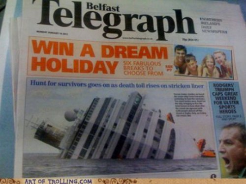 Win a Dream Holiday Newspaper Fail  Technically, nightmares are dreams too.