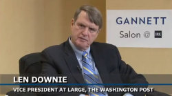 "Len Downie, Vice President At Large at The Washington Post, is interviewed by Gannett's Mackenzie Warren at the IRE Conference in Boston on Friday.  Click the photo to watch the interview and for all the interviews form the Gannett Salon @ IRE, click the ""Interviews"" link above."