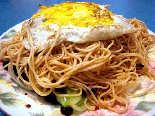 Spicy Chinese egg noodles! They are so delicious; I make them almost every day. Super easy recipe for these noodles on my blog.
