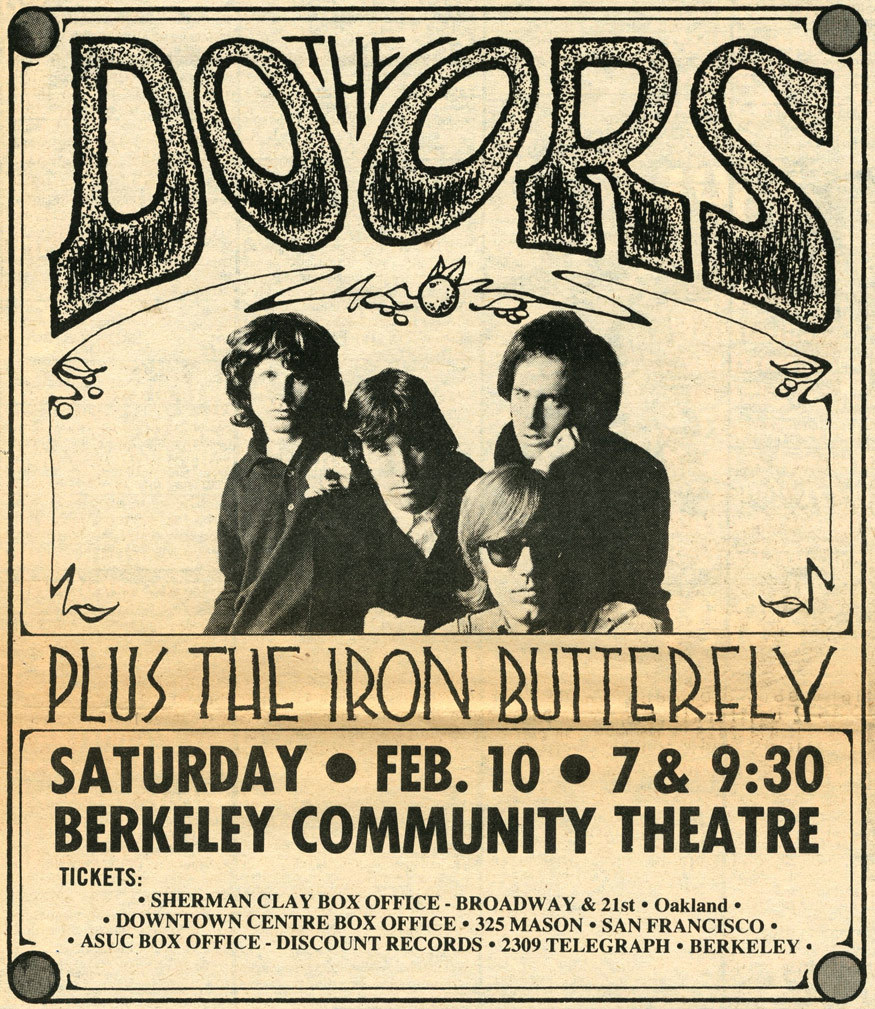The Doors + Iron Butterfly at the Berkeley Community Theatre in 1968.