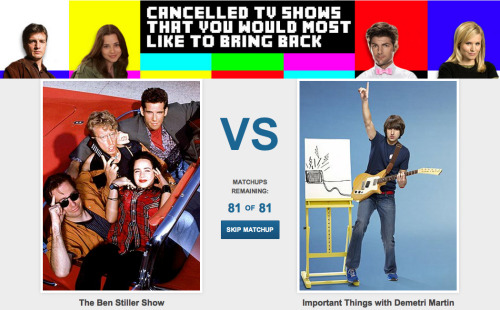 Cancelled TV Shows That You Would Most Like To Bring Back If you had the power to bring one back, which would you choose? Cast your vote now.