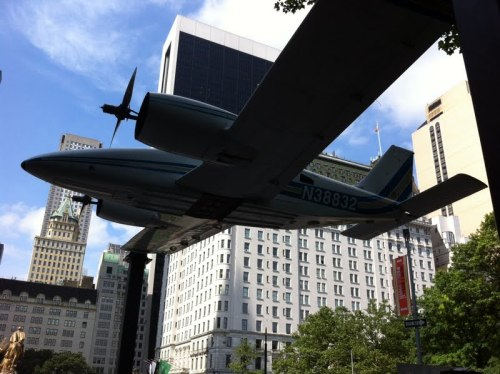 publicartfund:  Walking up 5th Ave and see a plane? We're installing Paola Pivi's How I Roll at Doris C. Freedman Plaza. Completed installation opens on Wednesday!