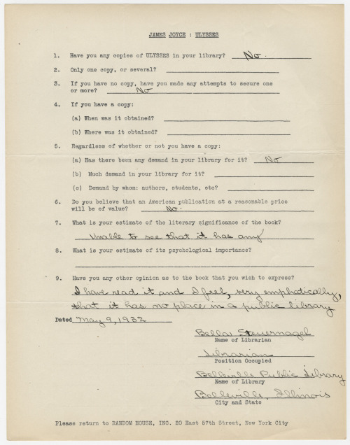 "Librarians who hated ""Ulysses"": View surveys of librarians sharing blunt, less-than-glowing opinions of the book. Librarian Bella Steuernagel of Belleville, Illinois was not alone in her belief that Ulysses had ""very emphatically…no place in a public library."""