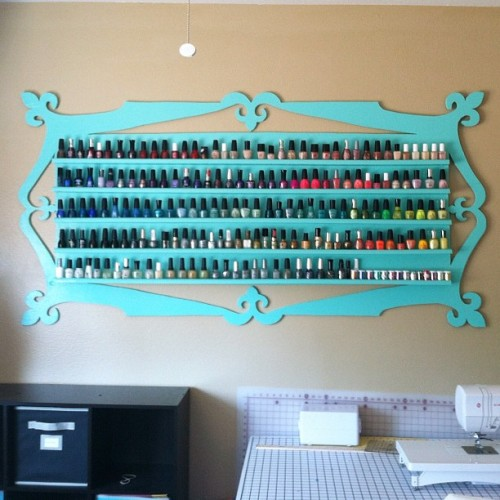 prettynailswag:  jazzyfantazzy:  My new nail polish rack! I got tired of how small and flimsy my other racks were since they were made of foam board I decided I wanted a wood one. I even helped cutting it out with the power tools lol. Still contemplating if I want to post a tutorial or not…  so pretty!!  HOLY. I NEED THIS .