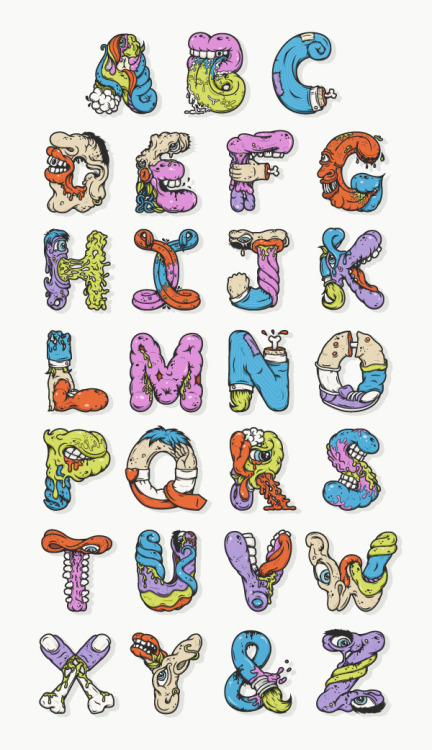 laughingsquid:  Alphabetcha, A Cool & Colorful Monstrous Alphabet by Nathan Walker