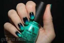 getyanailsdid:  the dark side of gradients at get ya nails did China Giaze Turned Up TurquoiseRevlon RoyalWet n Wild Black Creme