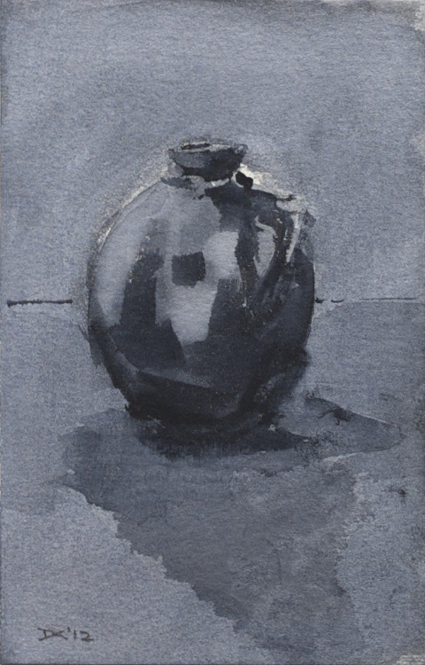 Ceramic vase, watercolor, 140 lb. cold pressed paper, 4 x 6 inches, 2012 $35, domestic USPS shipping and handling included in price. Click Shipping Details for UPS shipping. Transactions accepted via PayPal, please contact the artist.