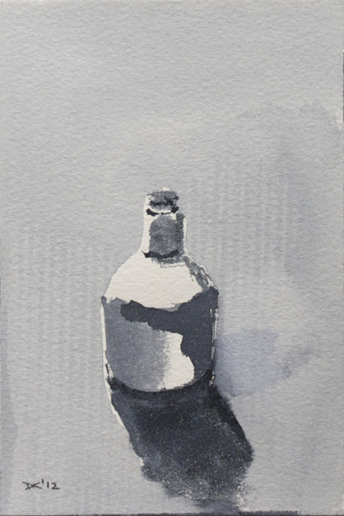 Glass bottle, watercolor, 140 lb. cold pressed paper, 4 x 6 inches, 2012 $35, domestic USPS shipping and handling included in price. Click Shipping Details for UPS shipping. Transactions accepted via PayPal, please contact the artist.