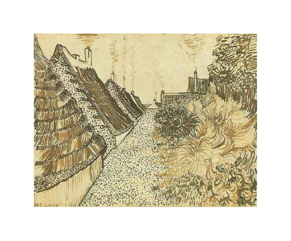 drawingdetail:  Vincent van Gogh, Street in Saintes-Maries, 1888. Ink on paper. Metropolitan Museum of Art, New York.