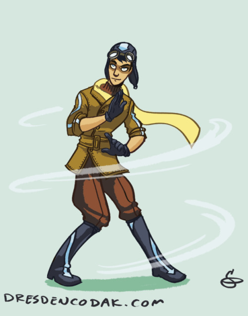 Warmup drawing: a Korra-era airbender. I tried to figure out what non-monk airbenders might look like in this time period, and I went with a pilot angle. Also baguazhang is a very pretty martial art.
