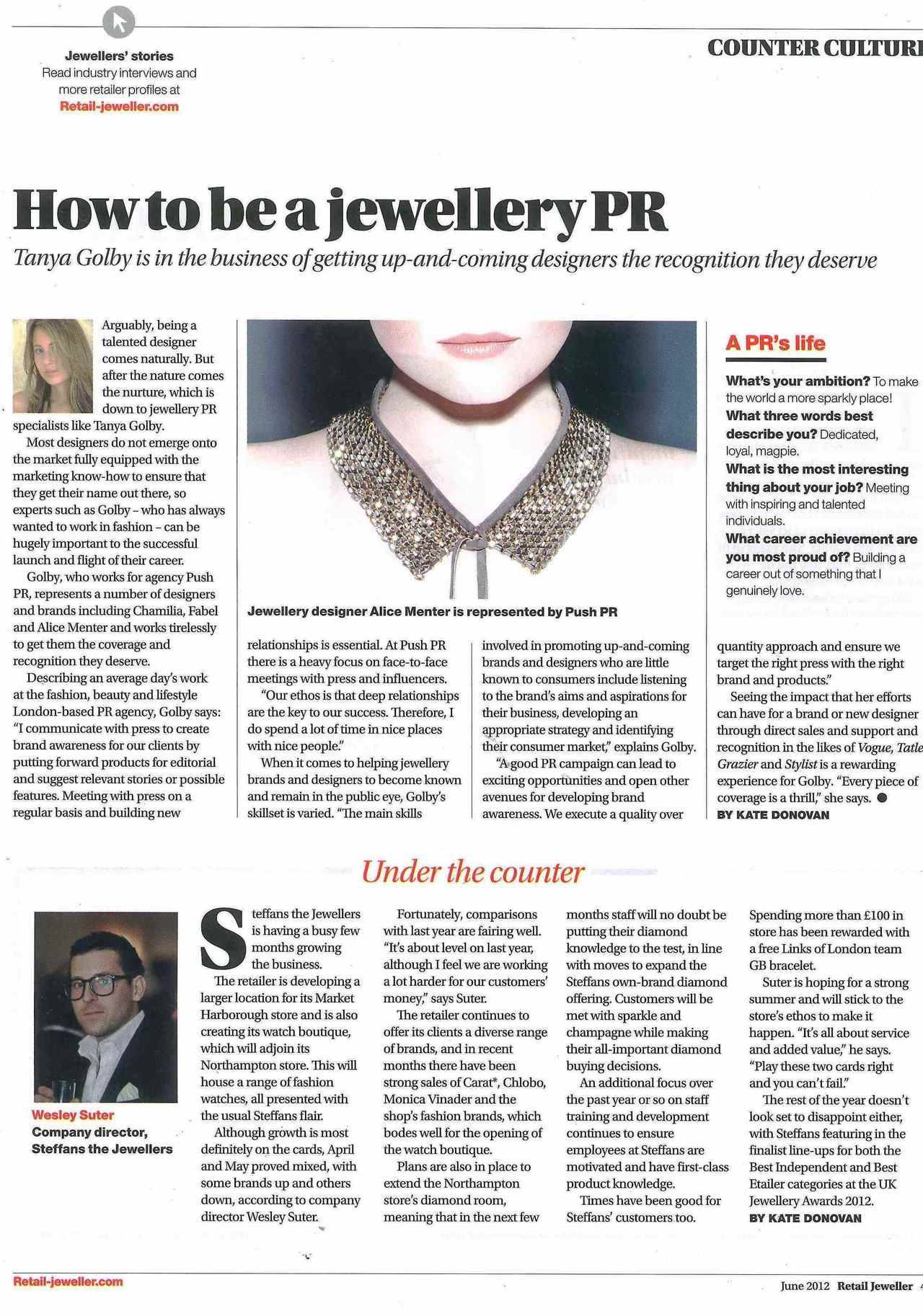 Tanya Golby for Push PR in Retail Jeweller