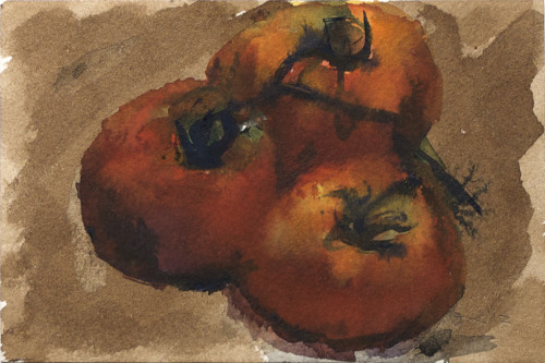 Tomatoes on vine (1), watercolor, 140 lb. cold pressed paper, 4 x 6 inches, 2012 $35, domestic USPS shipping and handling included in price. Click Shipping Details for UPS shipping. Transactions accepted via PayPal, please contact the artist.