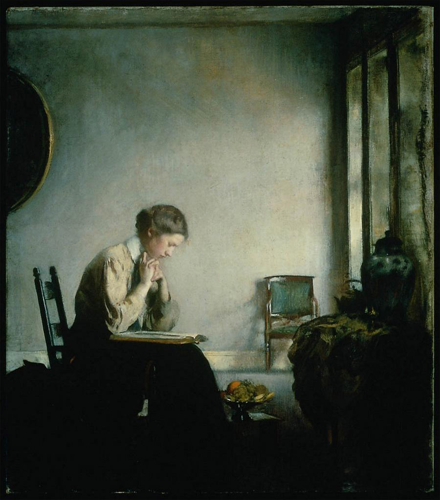 EDMUND C. TARBELL - Girl Reading (1909)
