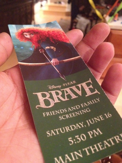 So on Saturday I got to go to a special screening of Brave at Pixar it was amazing. I can't wait to see it again on Friday. One of the coolest things they set up at Pixar were the stone thingys from the movie, I was waiting for one of those blue wisp things to pop up. When I went to Pixar last year to see Cars 2, they had all their security dressed as race car drivers decked out in Cars stuff. So this year they had their security team dressed in kilts and whatnot. Isn't he cute? lol. I bought a Hamish plush from my work to watch the movie with me, he came in handy too because I was crying my ass off at the end. I bought this cute Brave shirt from the Pixar Studio Store that I'm going to wear when I go to the midnight showing with my other cast members. My aunt also gave me a huge Brave poster. UGH I WANT TO SEE IT AGAIN SO BAD!