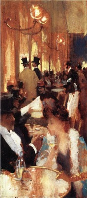 thisisanartproject:poboh: In the Café (Au café), 1888, Willard Leroy Metcalf. American Impressionist Painter (1858 - 1925)