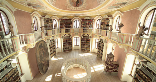 booksnbuildings:  Peaceful splendour: the library at the abbey of St. Mang, Germany.
