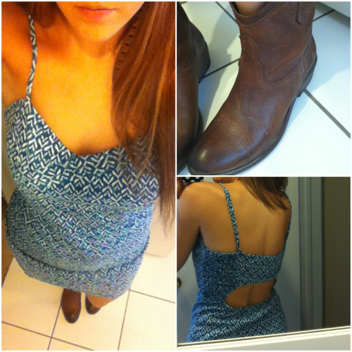Free People dress, Frye boots