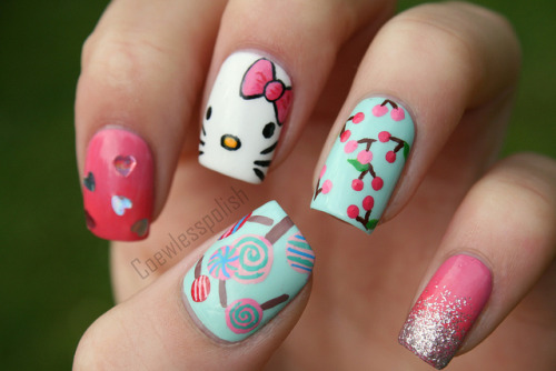 nail polish nail art Cherry hello kitty nail design lollipops gradient Essie acrylic paint coewless max