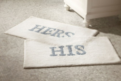 His and Hers bath mats
