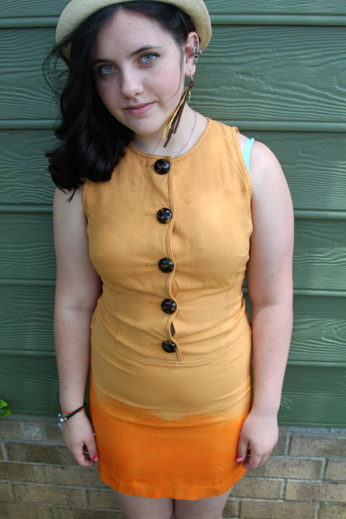 Sunset yellow and orange dip-dyed button up dress! 25$ Visit my Etsy! :) http://www.etsy.com/shop/Dyedmarie?ref=si_shop