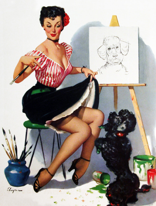 """Some Help!"" by Gil Elvgren, 1952"