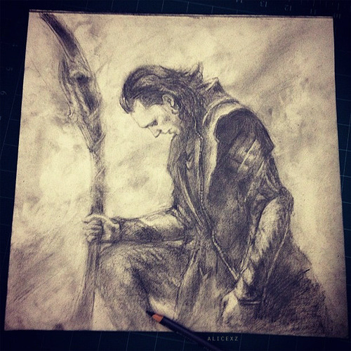 Pencil sketch I did for fun. I think I may be a little obsessed… with Loki… just a tad.  Not doing prints, but you can askbox me if you are interested in purchasing the original drawing.