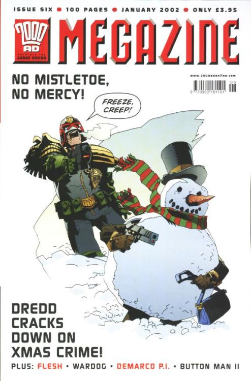 Fantastic,festive cover(Judge Dredd Megazine4.06,Jan'02)from Kev Walker