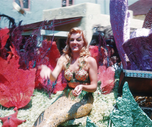 vintagegal:  Mermaid on a float at the 1959 Disneyland parade