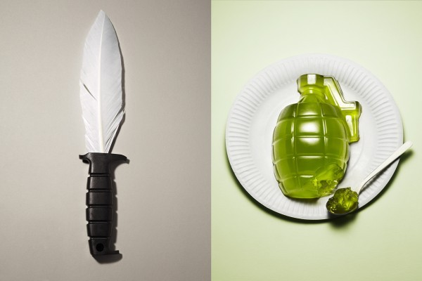 Kyle Bean has just published some wonderful photos of harmless weapons for an article in CUT Magazine about yarn bombing and guerrilla gardening. I've said it before and I'll say it again, it seems everything this guy designs turns into pure awesome. No pressure or anything.