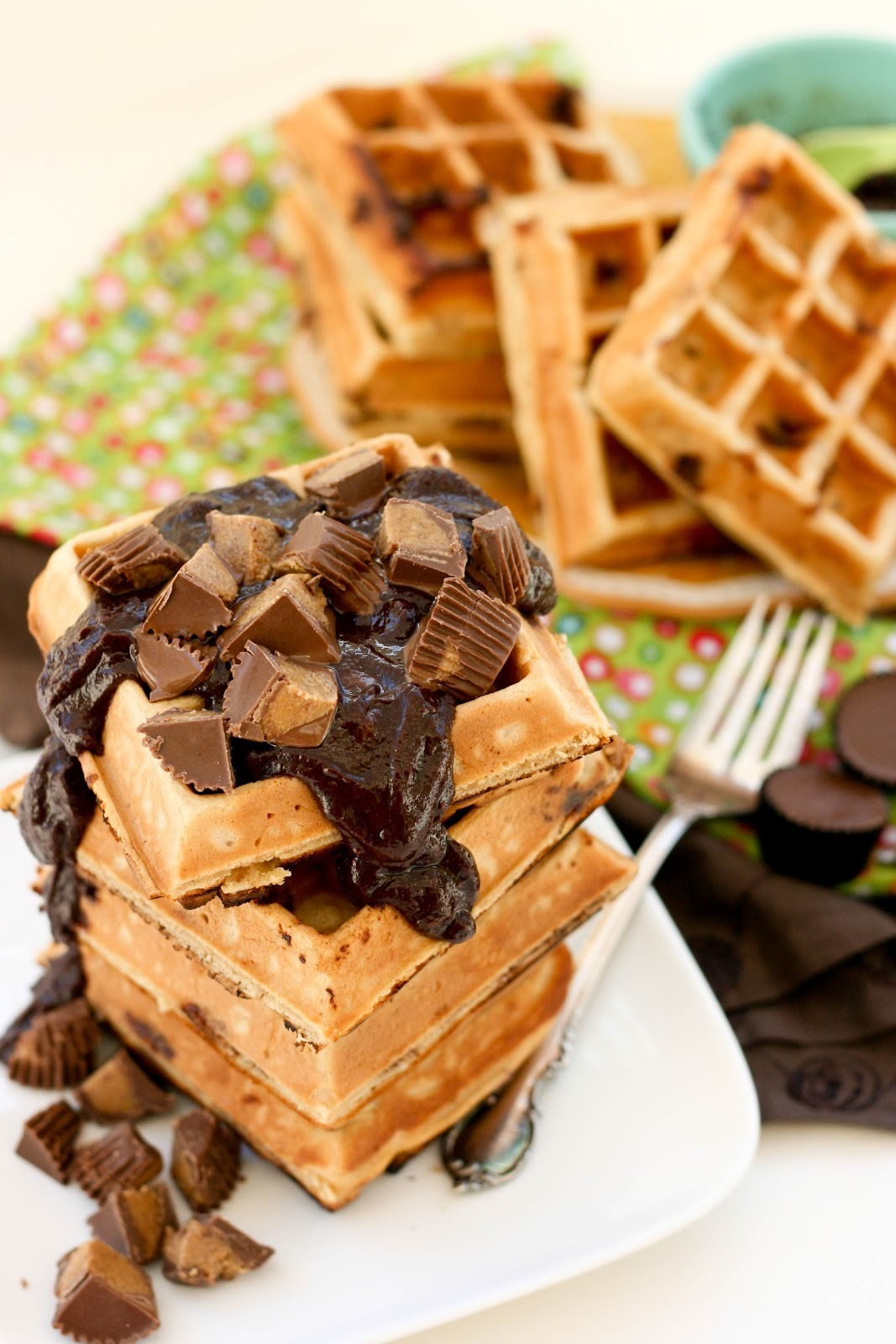 Peanut butter chocolate waffles - OMG