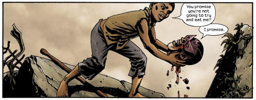 MARVEL PANEL OF THE DAY From: Marvel Zombies 2 (2007) #1 The touching story of a boy and his talking Hawkeye Zombie Head.