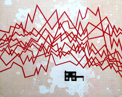 "ernestocrat:  ""housing market"" acrylic on paper on board, 2008.  by Ernesto Lomeli"