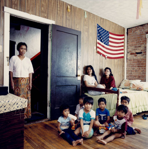A Cambodian family with their neighbors, c. 1987. Photograph by James Newberry. Want a copy of this photo?  > Visit our Rights and Reproductions Department and give them this number: ICHi-39736 Connect with the Museum