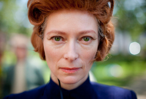 vontrapps:  Tilda Swinton on the set of Moonrise Kingdom (via Untitled | Flickr - Photo Sharing!)