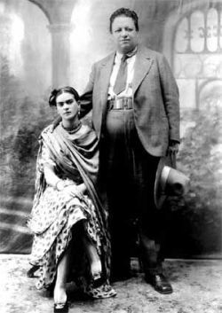 Wedding Photo of Diego Rivera and Frida Kahlo 21 August 1929