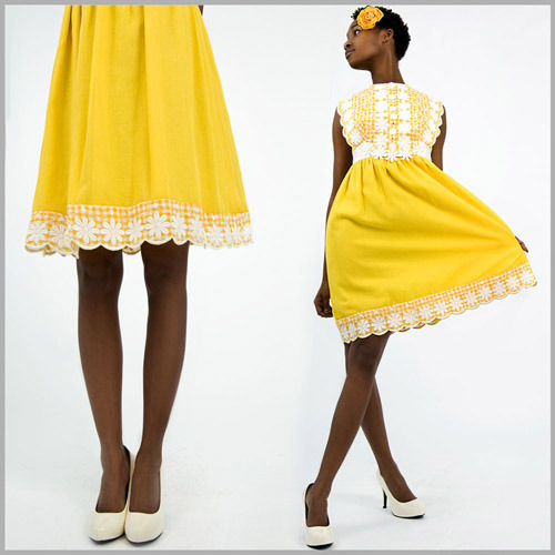 Sunshowers, sunflowers, dandelions and cream. Get vintage in a Mod Miss Daisy Dress.  - Jonathan (Source)