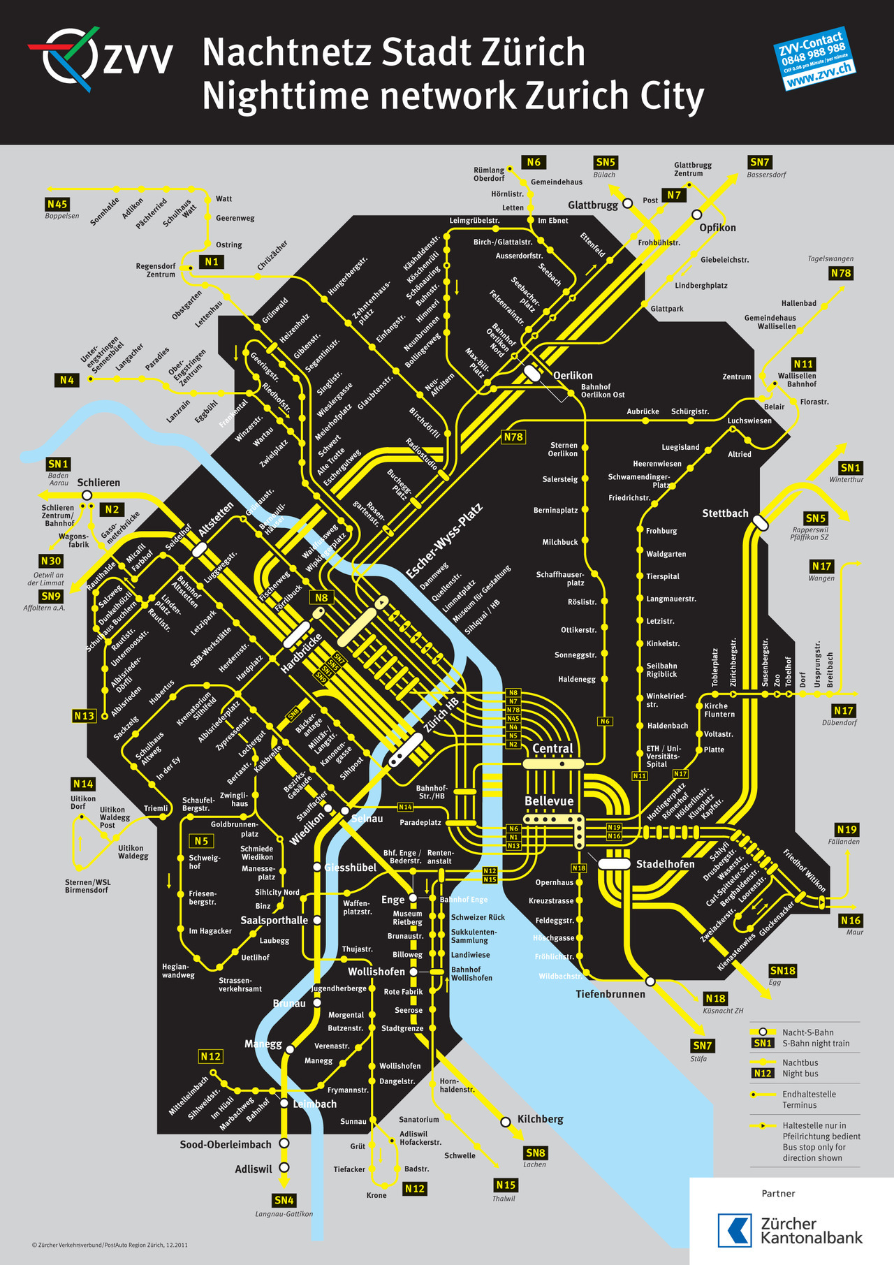 Official Map: City of Zurich Night S-Bahn and Bus Network, Switzerland One type of map we haven't covered yet here at Transit Maps is the night services map, often considered a very poor relation to the main map. However, there are some excellent examples out there, especially this black and yellow beauty from the city of Zurich in Switzerland. Have we been there? No. What we like: Graphically very striking with its black and yellow colour scheme. Good differentiation between bus and train services accomplished by use of thick and thin route lines, and some subtle work at stations: train stations are white, major bus interchanges are a light tint of yellow, and minor bus stations are a darker tint of yellow. Fits seamlessly into the next map up in the series, showing night services in the Canton of Zurich (PDF). What we don't like: The way the S-Bahn tracks disappear between the Hauptbahnhof and Bellevue (re-emerging only to cross the river on a bridge) may be logical - the tracks are in a tunnel - but it breaks the flow of the route badly. Our rating: A great example of the night services map genre. 4 stars!  (Source: Official ZVV website)