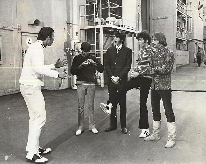 The Monkees and Producer Bob Rafelson on the set of the movie HEAD