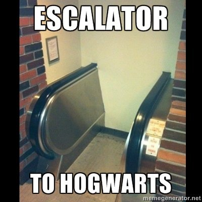 modernidade até no mundo da magia  knowyourmeme:  Platform 9 and one half. KYMdb - Harry Potter