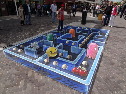flavorpill:  Awesome 3D Pac-Man street art