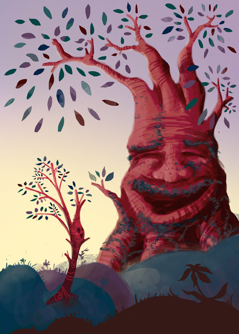 Illustration Friday: SecretAn old, wise tree shares his secrets with a little sapling!