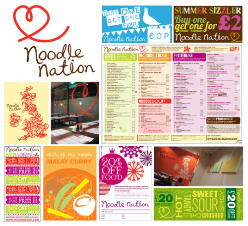 Noodle Nation branding & communications. Branding for a modern Noodle Bar restaurant and Take Away chain, everything from the logo, interior,menus, marketing comms, uniforms and events etc (always ensuring everything feels 'on brand' without feeling corporate). (by Chloe Dunne Design)