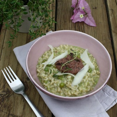 Summer pea and thyme risotto