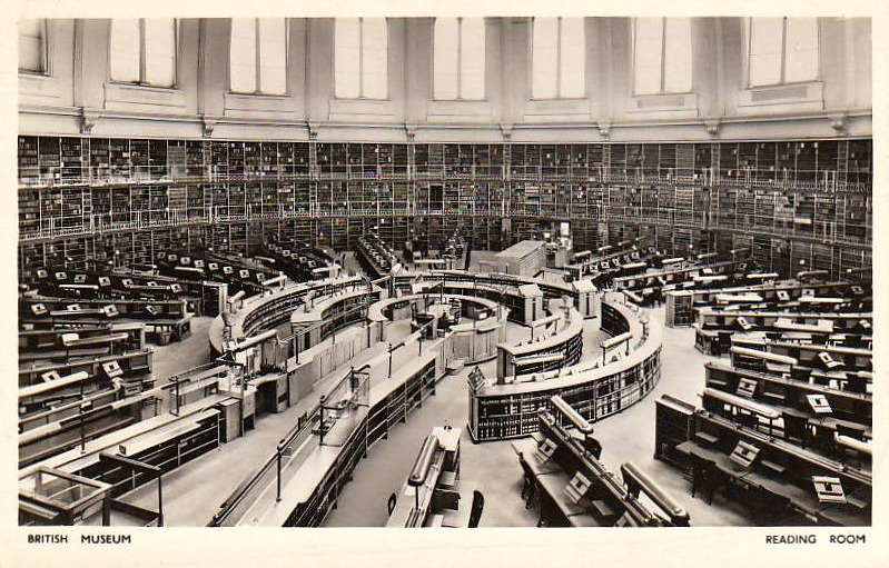 Inside the reading room of the British Library, London