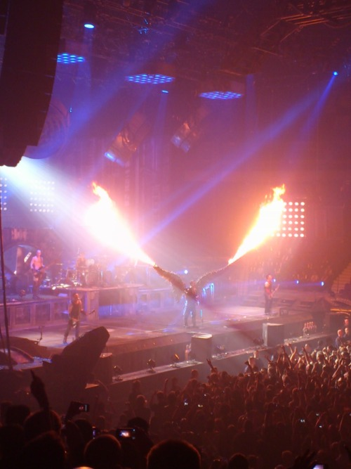 Rammstein 30 Day Challenge - Day 13: Favourite live picture I took this photo myself when I went to the Made in Germany concert in May (the Vancouver one). I've always loved Till's costumes and props. The flaming angel wings are probably my favourite, next to the flamethrowers for, well, pretty much everything else.