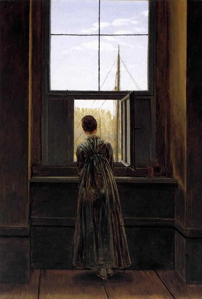 litverve:  Caspar David Friedrich, Woman at a Window, 1822