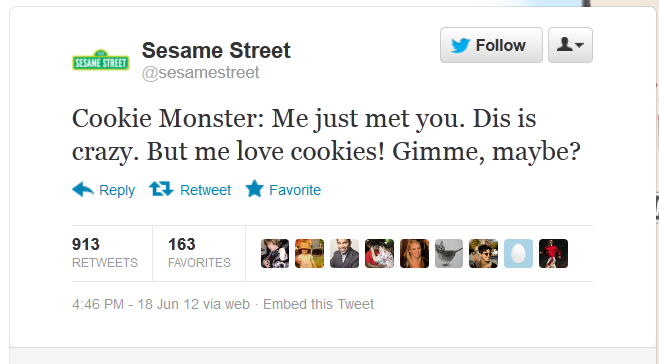 sesamestreet:  So we just tweeted this. This is crazy! 1,500 notes! (Can we reblog it, maybe?)  Greatest Call Me Maybe cover. Ever.