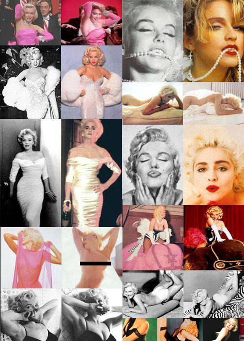 Ms. Copycat strikes again. It's now confirmed that Marilyn Monroe's career is based on Madonna's iconic legacy. Ugh! Why can't Marilyn die?! She is no use! She can't act or sing. I am infuriated because, to date, she won't stop plagiarizing Madonna's artistic integrity. I can't believe such disgusting human beings like Monroe even exist.